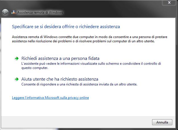 assistenza remota windows